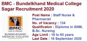 MP BMC Staff Nurse Pharmacist Online Form 2020