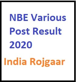 NBE Various Post Result 2020