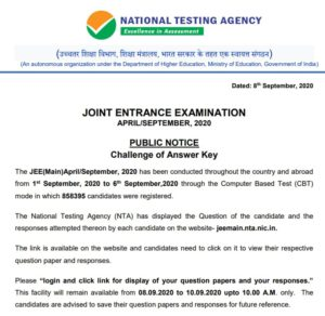 NTA JEE Mains April Answer Key 2020