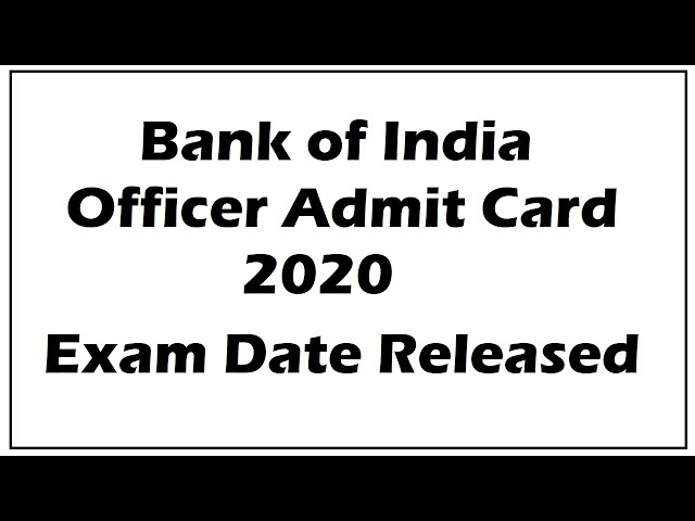 Bank of India Various Post Admit Card 2020