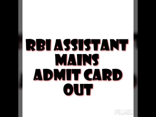 RBI Assistant Mains Admit Card 2020