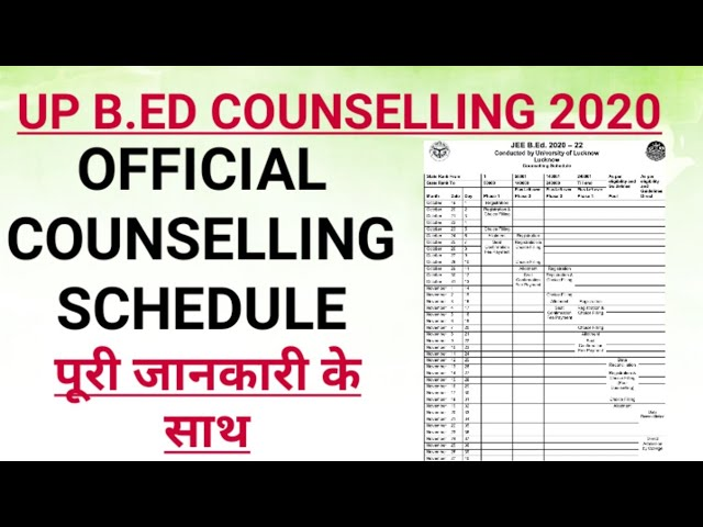 UPBEd 2020 Counselling Schedule