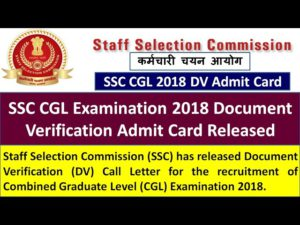 SSC CGL 2018 DV Admit Card