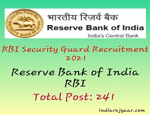 RBI Security Guard Admit Card 2021